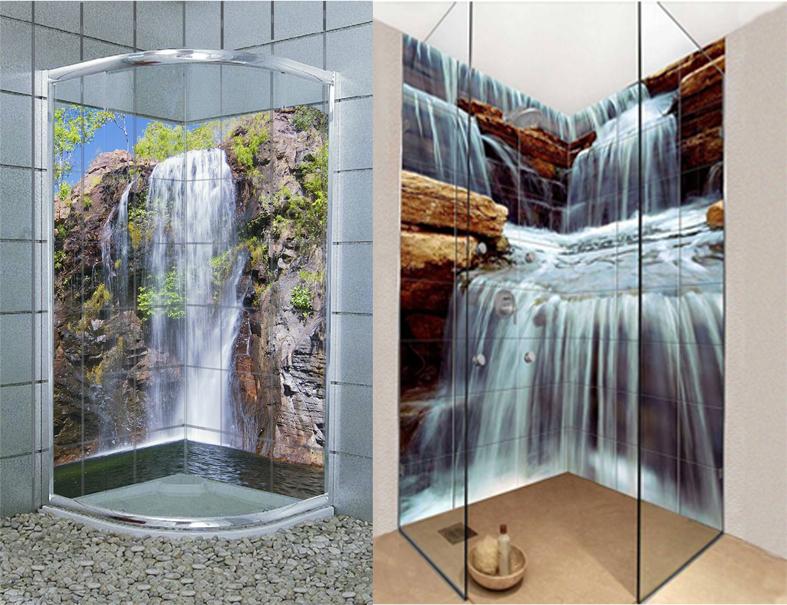 Piastrelle A Mosaico Per Box Doccia: Foto doccia in opera mosaico e vetro di verde mattone.